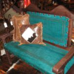 Rey Salomon Tooled Leather Bench #1 in Turquoise