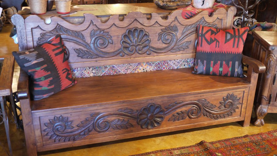 ... Spanish Hand-Carved Bench ...