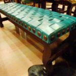 Argentina Woven No Back Bench in Turquoise