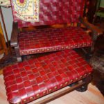 Argentina Woven Bench in Red Guinda with Foot Rest