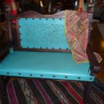 Rey Salomon Tooled Leather Bench #2 in Light Turquoise