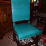 Argentina Tooled Leather Chair in Turquoise