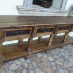 Colonial Console Table Iron Inlay