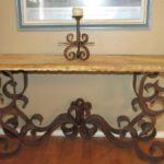Travertine Sofa Table Iron Base
