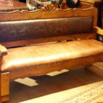 Concha Mesquite Bench with Tooled Leather