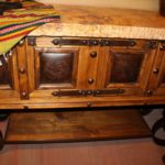Travertine Tooled Leather Console Table